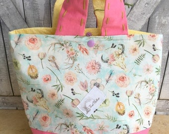 Mini Tote Bag-Spring Boho Knitting Bag,Sock Tote Bag,Spring Project Tote Bag,Crochet Project,Knitting Project Bag,Toad Hollow bags