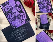 rose garden laser cut wedding gatefold invitation romantic roses flowers printed customizable