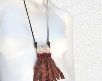 Handwoven Necklace with Sari Silk Fringe, Fiber Necklace with Seed Beads, Woven Fiber Jewelry, Mini Tapestry, Boho Jewelry, Fiber Necklace