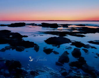 Ocean Drive ~ Newport, RI, Narragansett Bay, Art, Artwork, Photograph, Joules, New England, Sunset, Ocean, Stones, Seascape, Coastal