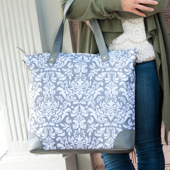 Monogrammed Tote Bag Grey Damask Tote Gray and White Tote Bag Personalized Tote Monogrammed Gift Bridesmaids Gifts Weddings Highway12Designs