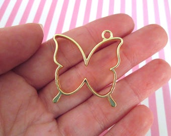 2 Gold Plated Butterfly Charms, Open Bezel Pendant, Butterfly Pendants F9
