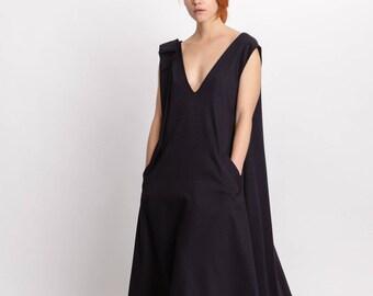Black elegant woman's dress / Midi sleeveless formal dress / Open back unique dress / A-line pocket dress / Fasada 18009