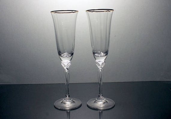 Oneida Crystal Toasting Flutes, Chateau Gold, Champagne Flutes, 24% Leaded Crystal, 22K Gold Band, Wedding Flutes, New In Box