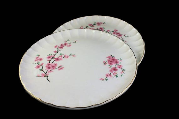 W S George, Dinner Plates, Peach Blossom, Bolero Shape, Set of 2, Pink Flowers, Pink and White, Pink Floral, Fine China