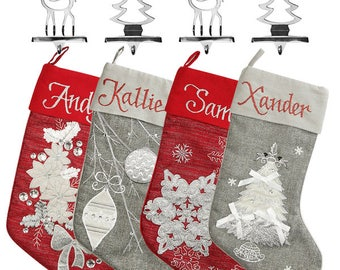 Personalised Red and Silver Stocking and Hanger Value Pack