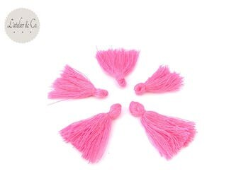 4 tassels in cotton yarn ROSE 25x5mm couture jewelry [42]