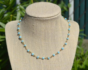 Light Blue & Gold Bead Chain Necklace | Rosary Style | Choker Necklace