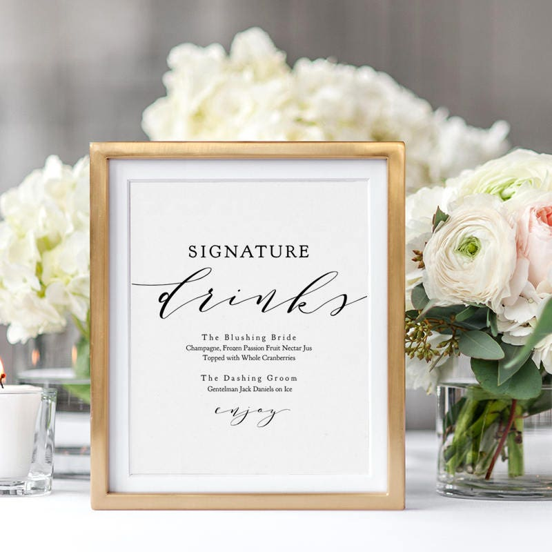 Signature drinks printable template wedding signature drink sign signature drinks printable template wedding signature drink sign signature cocktails 8x10 5x7 wedding sign wedding edit in acrobat junglespirit Gallery