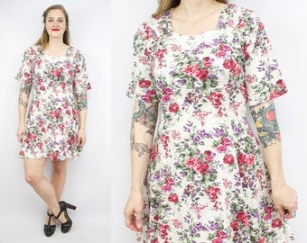 Vintage 90's Foral Mini Dress / 1990's Romantic Summer Dress / Cotton Dress / Women's Size Plus Size 1X/2X/3X