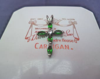 "Sparkly emerald and diamond crucifix pendant - 925 - sterling silver - 1.1"" - green crucifix"