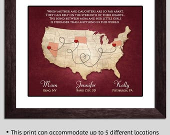 Long Distance Mom Gift - Mom Christmas Gift - Long Distance Mother Daughter Moving Away - Mom Map Mothers Day Gift Personalized Mom