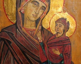 Virgin Mary & little Christ tempera hand painted icon