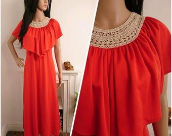 Vintage 70s Red Crochet Capelet Cape Sleeve Maxi Evening Dress Mod Boho UK 8 10 /EU 36 38 /US 4 6