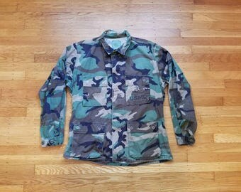 Vintage Mens Medium Regular Camo Field Jacket Coat Camouflage Military Combat Street Style Hipster Fashion