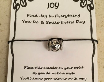 Joy, smile every day, card, wish bracelet, charm, bracelet, gift, quote, various charms and colours
