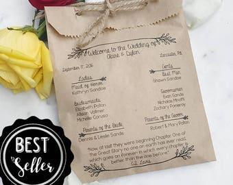 Wedding Program Bags - Rustic Twig - Program Bags - Custom Printed on Kraft Brown Paper Bags