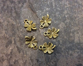 Gold Four leaf clover charms Package of 5 charms Irish charms Good luck charms Antique Gold Clover Charms