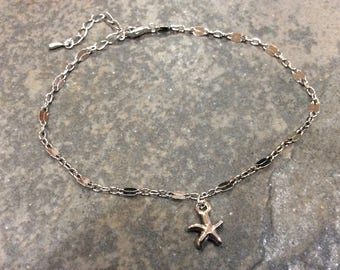 "Ankle Bracelet chains with starfish charm 8-10"" adjustable Sparkly silver anklet Beach jewelry"