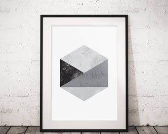 Scandinavian print, Geometric art, Hexagon wall art, Abstract wall art, Geometric print, Printable wall art, Printable geometric, Modern art