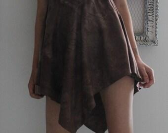 "Boho dress ""MORIKO"" - ecofriendly - organic - hemp and cotton - hand dyed - shorter on sides - back low-cut"