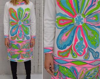 Mr Dino Designer, Mr Dino, Novelty Print Dress, Mod Shift Dress, Vibrant Psychedelic, Mod Dress, 60s Psychedelic Mod, Psychedelic Print,