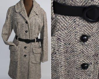 40s coat, 40s Herringbone Coat, Vintage Herringbone, Herringbone Coat, Gray Tweed Coat, Long Gray Coat, Belted Winter Coat, Fitted wool coat