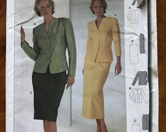 Burda 8812 - Fitted Suit Set with Jacket and Skirt in Knee or Midi Length - Size 10 12 14 16 18 20