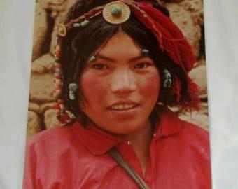 Original Colored Photograph-Ethnographic Portrait of Lovely Tibetan Girl by Bernard Levere