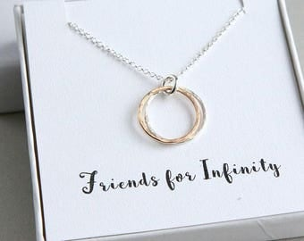 Friends Necklace, Double Circles Necklace, Two Circles Eternity Necklace, Gold Silver Ring Necklace, Infinity Necklace, Friends for Infinity