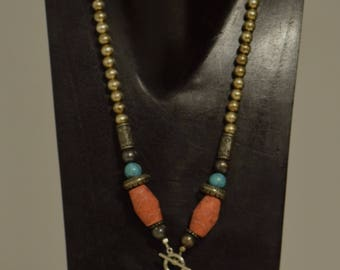 Necklace Chinese Turquoise, Apple Coral Silver Handmade Jewelry Toggle Front Southwest Style Turquoise Necklace