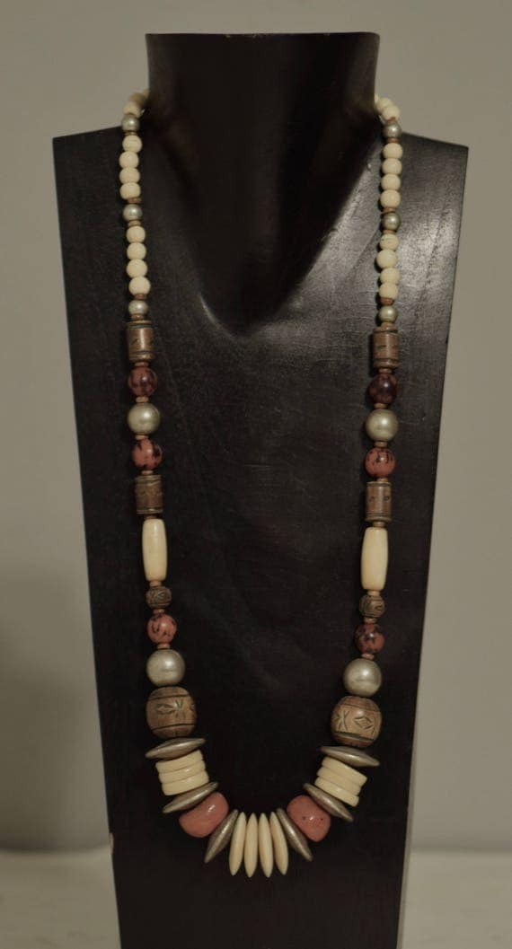 Necklace African Coral Glass Brushed Silver Bone Horn Beads Handmade Jewelry Horn Tubes Beads Bone Buri Nut Beaded Necklace