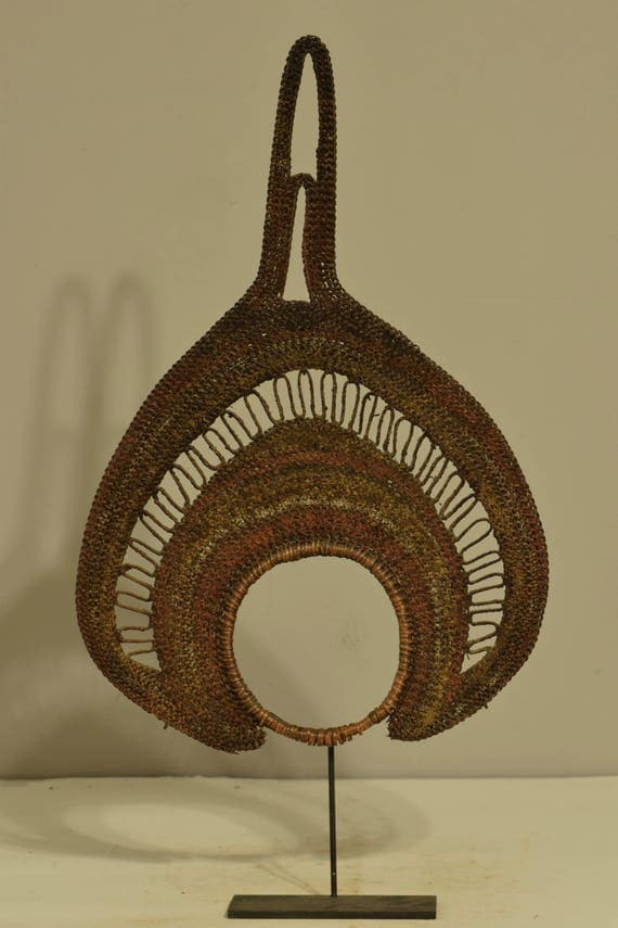 Papua New Guinea Headdress Abelam Tribe Fiber Yam Fan Festival Headdress