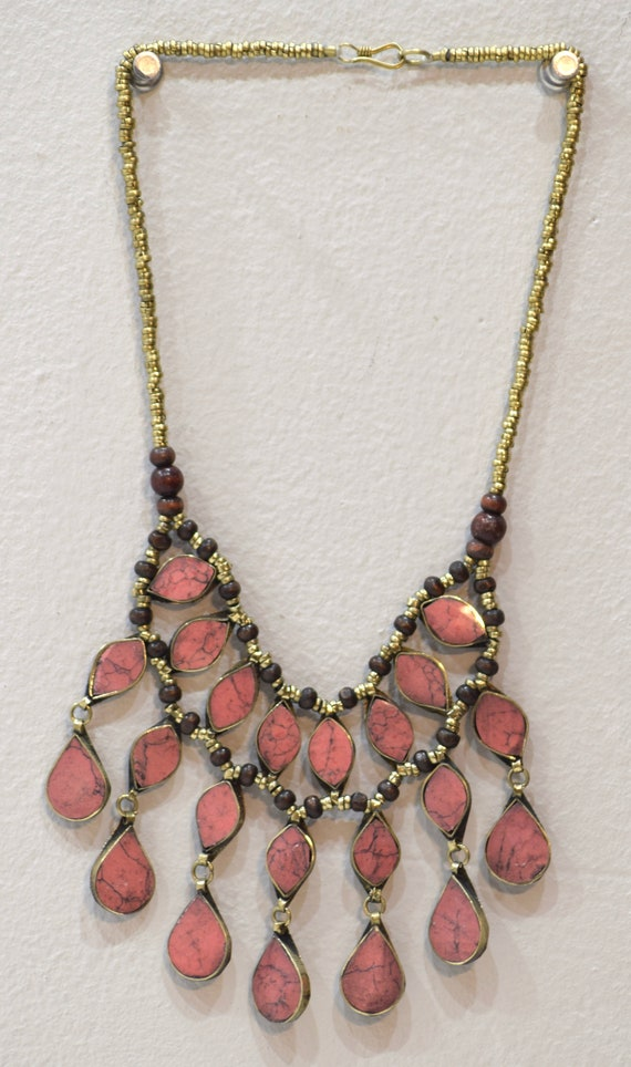 Necklace Middle East Pink Stone Tribal Necklace 24""