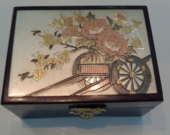 Vintage Chokin Art Trinket Box, Lacquer Trinket Jewelry Box, Japanese Lacquer Jewelry Box