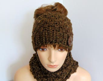 Messy Bun Hat and Cowl Set Chunky Knit Alpaca Brown Ponytail Camouflage Beanie Alaskan Knit Fall Winter Gift for Her
