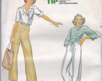 Vintage, NEW & UNCUT Butterick 5884, sz 30(16) for pants, Retro, 1970s fashion, drawstring or flat front w/ elastic back waist straight leg