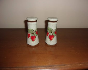 Vintage strawberry salt and pepper shakers