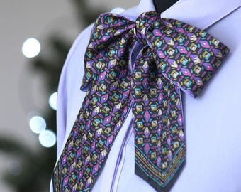 Women bow Twill Printed silk scarf Women bow tie Gift for her W012 Gift box