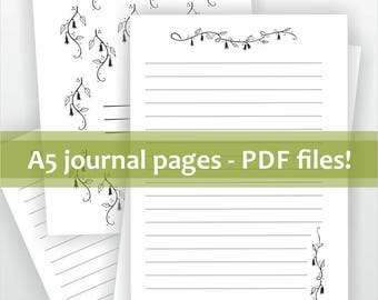 Printable journal pages. A5 diary kit. PDF Download. DIY journal, note book. Lined writing sheets plus covers.