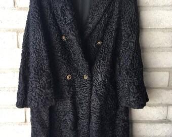 1980's Black Curly Lamb coat