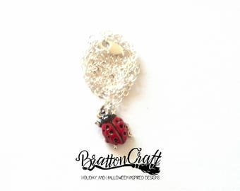 Hand Painted Red Ladybug Necklace - Silver Ladybug Necklace - Ladybug Jewelry - Insect Necklace - Insect Jewelry