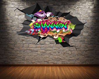 Personalised Custom Graffiti Name Wall Art Stickers Decor For - Graffiti custom vinyl stickers