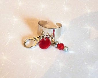 Sterling Ring silver adjustable cuff, red sequin and beaded red/black style deloche 50 shades Valentine