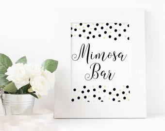 Mimosa Bar Sign, INSTANT DOWNLOAD, Black and Gold Mimosa Sign, Bachelorette Party Sign, Mimosa Bar, Bridal Shower, Baby Shower, Birthday