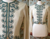 vintage AS-IS early 1940s jacket <> 40s zip front jacket <> 1940s jacket with soutache and beading <> sold in as-is condition