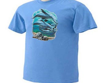 Dolphins Swimming Sealife Sea Life Beach Ocean T-Shirt