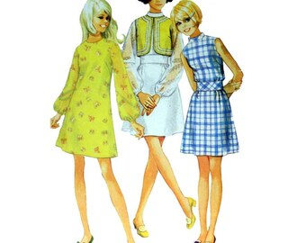 60's Teens Dress and Bolero Sewing Pattern Jr. Size 11/12 Bust 32 Vintage 1960's Simplicity 8106