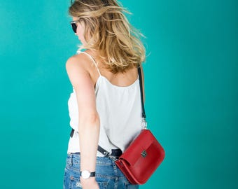 Red leather mini purse