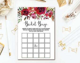 Red Floral Bridal Shower Bingo Game - Wedding Shower Bingo Cards - Bridal Shower Games - Watercolor Florals INSTANT DOWNLOAD